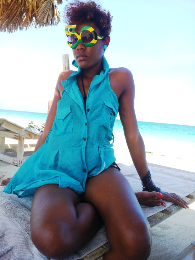Rocking my sunnies - they were made to honour Jamaica's 50th anniversary of independence from Britain last year.