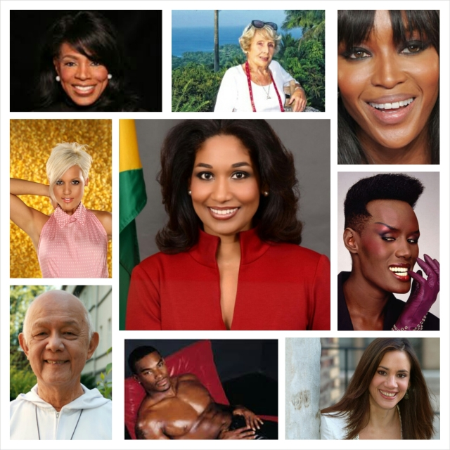 Jamaican greats (top row, from left): Actress Sheryl-Lee Ralph, fashion designer Maureen Baker (she dressed Margaret Thatcher and Princess Anne), supermodel Naomi Campbell.  Middle row, from left: songwriter/singer and sister of The Voice Season 5 winner Tessanne Chin, Tami Chynn, Minister of Youth and Culture and Miss World 1993 Lisa Hanna, internationally acclaimed model/singer/actress Grace Jones.  Bottom row, from left: Father Richard Ho Lung - Missionaries of the Poor founder, model Tyson Beckford, jewellery designer and fine artist Anna Ruth Henriques.