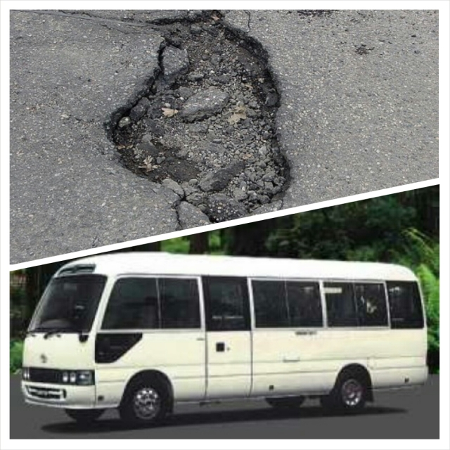 Potholes and coaster buses, two things that make for a very interesting driving experience in Jamaica.