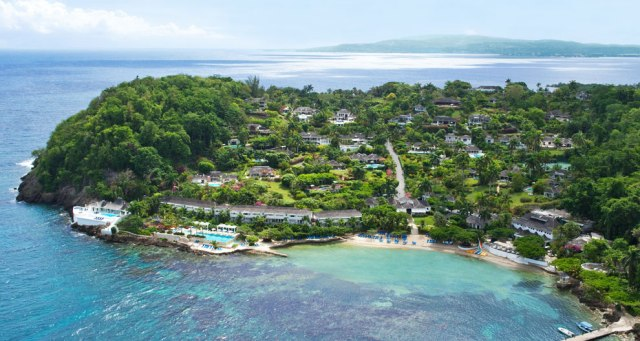 Aerial view of Round Hill Hotel & Villas, a popular celebrity getaway in Jamaica