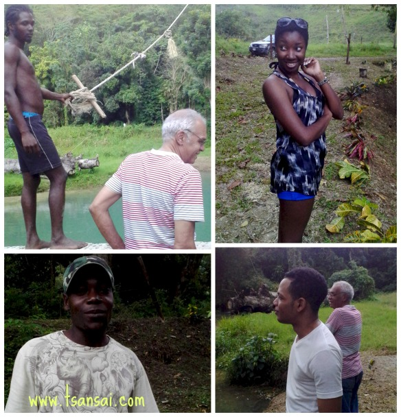 Scenes from Labyrinth/White River Valley. From top left (clockwise): Shango (our guide while swinging), Uncle George, Jody & Shomari ---travelling partners--- and Munair, tour guide.